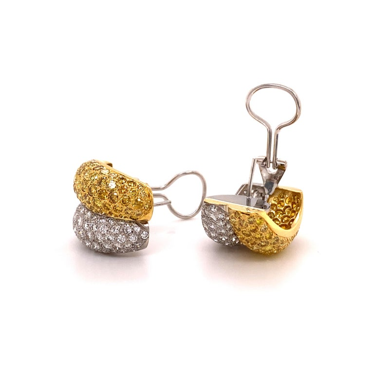 Yellow and White Diamond Bombé Earclips in 18 Karat White and Yellow Gold For Sale 1