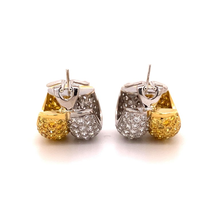 Yellow and White Diamond Bombé Earclips in 18 Karat White and Yellow Gold For Sale 2
