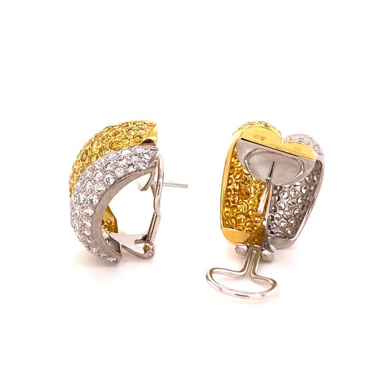 Yellow and White Diamond Bombé Earclips in 18 Karat White and Yellow Gold For Sale 3