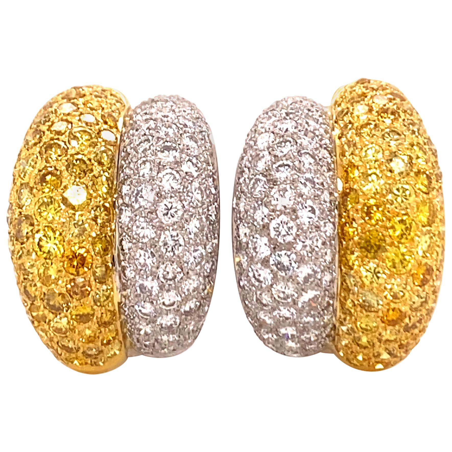 Yellow and White Diamond Bombé Earclips in 18 Karat White and Yellow Gold