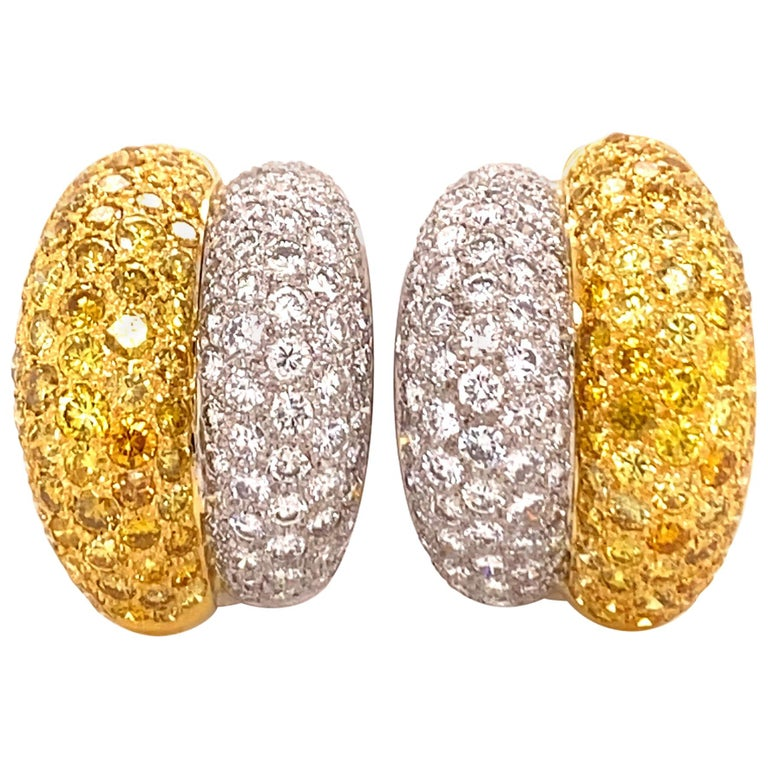 Yellow and White Diamond Bombé Earclips in 18 Karat White and Yellow Gold For Sale