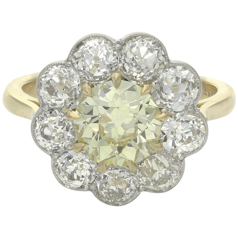 Yellow and white diamond cluster ring