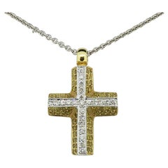Yellow and White Diamond Cross Pendant 18 Karat Yellow and White Gold