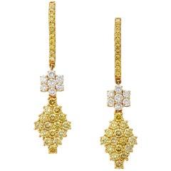 Manpriya B Yellow and White Diamond 18k Gold Dangle Drop Earrings