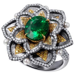 Yellow and White Diamond Emerald Cocktail Ring with Pearls