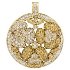 Yellow and White Diamond Floral Pendant 10.43 Carat