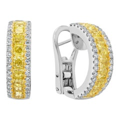 Yellow and White Diamond Half-Way Hoop Earrings
