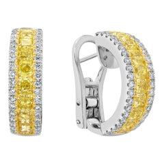 Roman Malakov, Yellow and White Diamond Half-Way Hoop Earrings