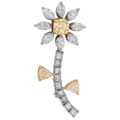 Yellow and White Diamond Palm Tree Brooch Pin with Fancy Cut Diamonds