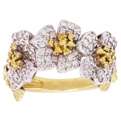 Yellow and White Diamond Ring with Flowers Two-Tone Gold Stambolian