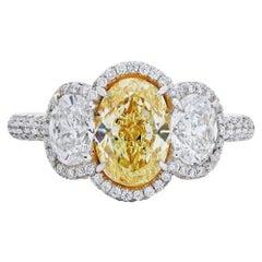 Neil Lane Couture Yellow & White Diamond Three Stone Platinum Ring