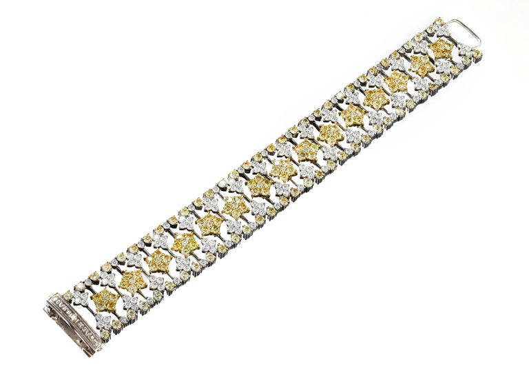Yellow and White Diamond Two-Tone Gold Bracelet Stambolian In New Condition For Sale In Boca Raton, FL