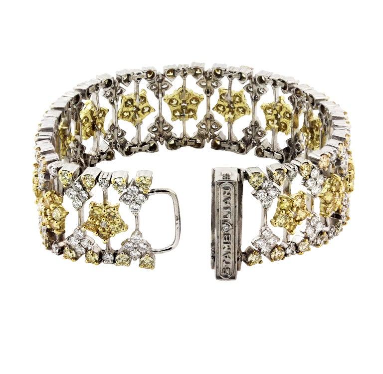 Women's Yellow and White Diamond Two-Tone Gold Bracelet Stambolian For Sale