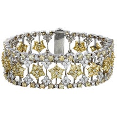 Yellow and White Diamond Two-Tone Gold Bracelet Stambolian