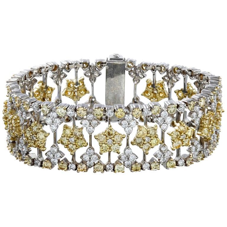 Yellow and White Diamond Two-Tone Gold Bracelet Stambolian For Sale