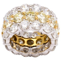 Yellow and White Diamond Wide Band