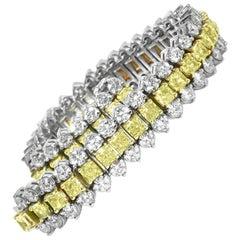 Yellow and White Diamonds Bracelet