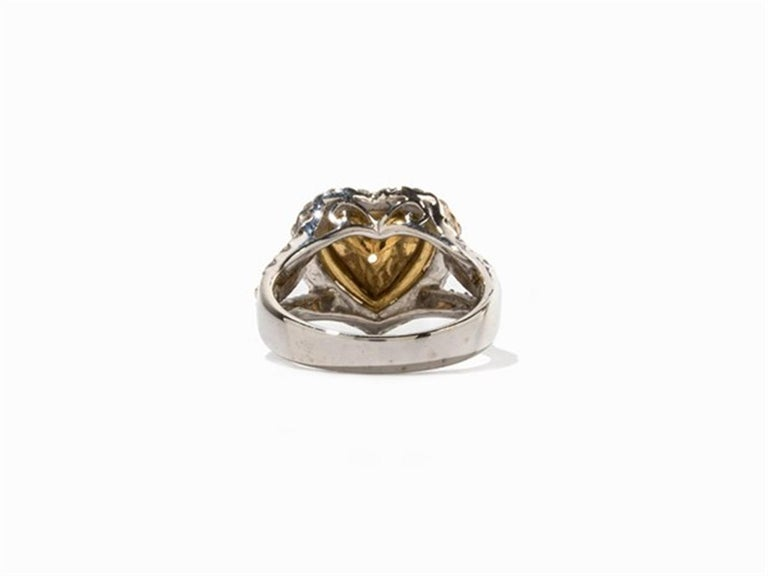 Heart Cut Yellow and White Diamonds Heart Ring, 750 White Gold For Sale