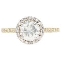 Yellow and White Gold 1.26 Carat Round Brilliant Cut Diamond Halo Ring