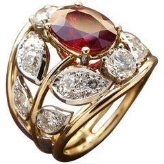 Yellow and Gold 18 Karat Old Cut White Diamonds Ruby Botanical Engagement Ring