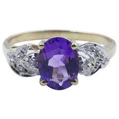 Yellow and White Gold Amethyst and Diamond Engagement/Dress Ring