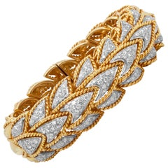 Yellow and White Gold Bangle Bracelet with Diamonds