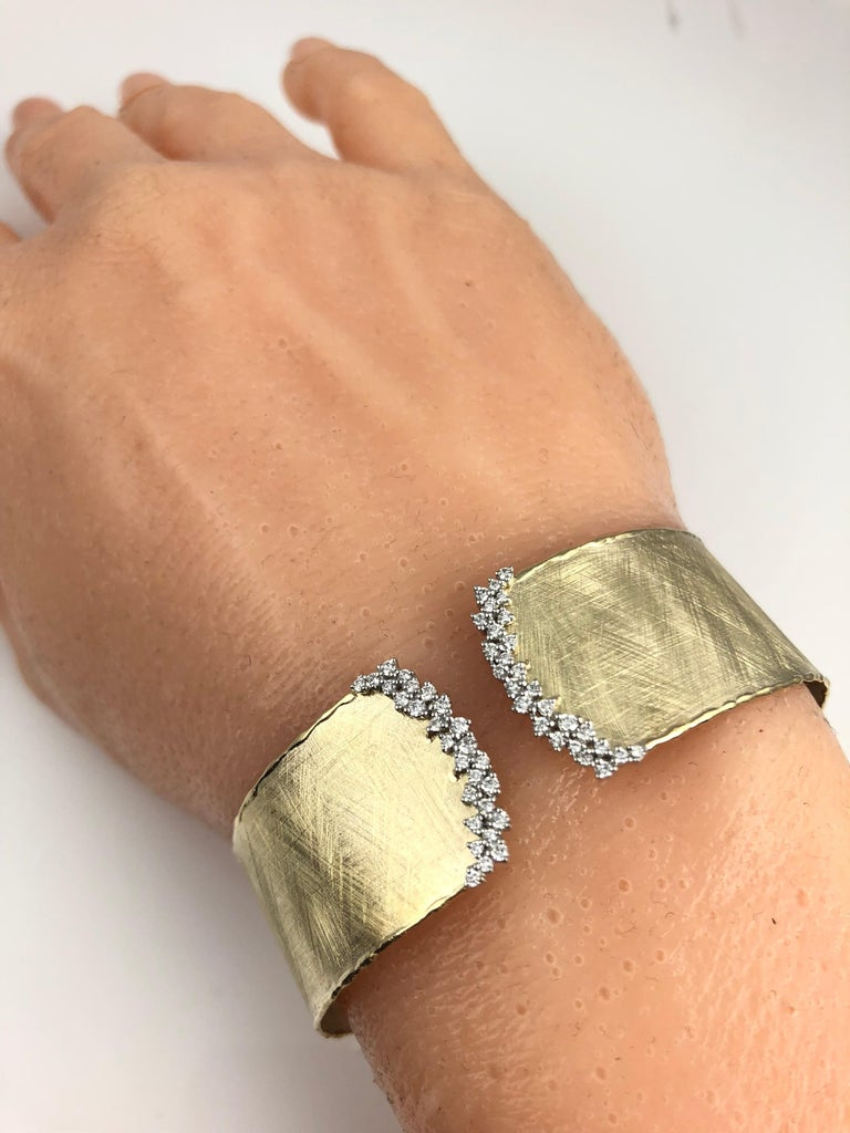 Yellow and White Gold Rustic Bangle with .58 Carat Diamond Accent by DiamondTown In New Condition For Sale In New York, NY