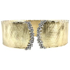 Yellow and White Gold Rustic Bangle with .58 Carat Diamond Accent by DiamondTown