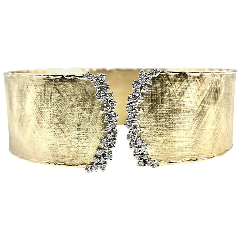 Yellow and White Gold Rustic Bangle with .58 Carat Diamond Accent by DiamondTown For Sale