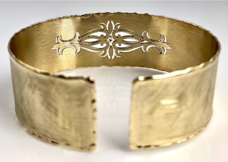 Yellow and White Gold Rustic Bangle with .83 Carat Diamond Accent by DiamondTown In New Condition For Sale In New York, NY