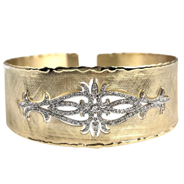 Yellow and White Gold Rustic Bangle with .83 Carat Diamond Accent by DiamondTown For Sale