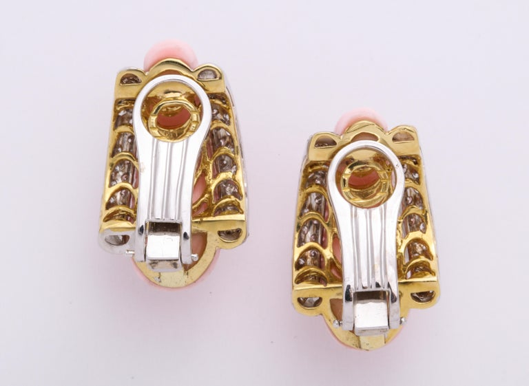 Yellow and White Gold, Coral and Diamond French-Clip Earrings In New Condition For Sale In New York, NY