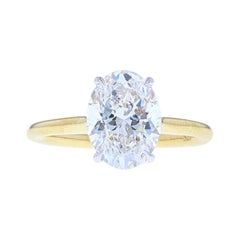 Yellow and White Gold Diamond Engagement Ring, Two-Tone Look