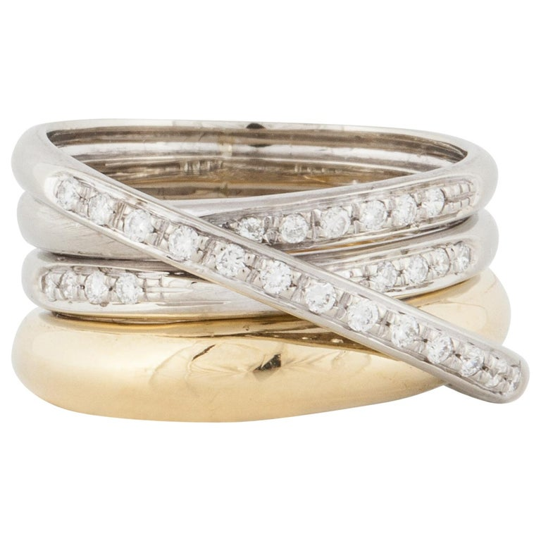 Yellow and White Gold Diamond Ring For Sale