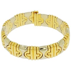 Yellow and White Gold Flexible Cuff Bracelet