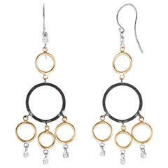 Yellow and White Gold Hoop Diamond Earrings with Blacken Siver Circles