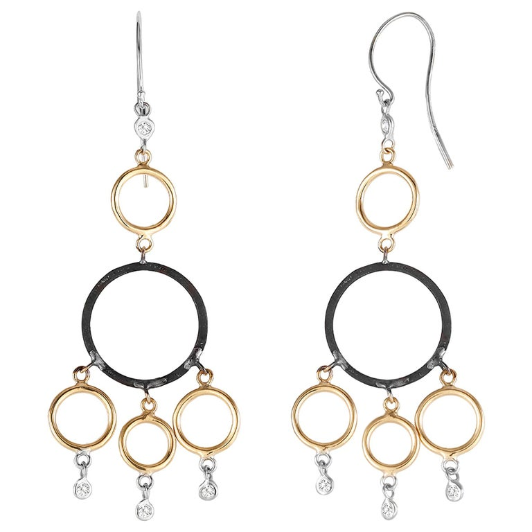 Yellow and White Gold Hoop Diamond Earrings with Blacken Circles For Sale