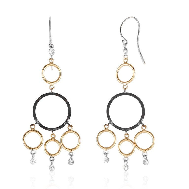 Contemporary Yellow and White Gold Hoop Diamond Earrings with Blacken Circles For Sale
