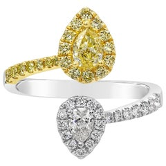 Yellow and White Pear Shape Diamond Halo Bypass Ring