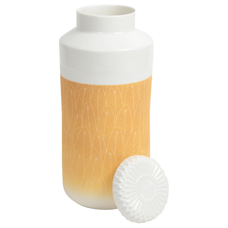 Yellow and White Porcelain Vase with Lid For Sale