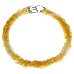 Genuine & Natural Yellow and White Sapphire Bead White Gold Necklace, 18K Gold