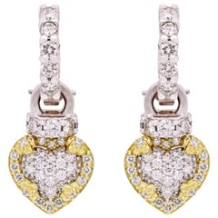 Yellow and White Two-Tone Gold and Diamond Heart Earrings Stambolian