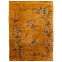 Yellow Antique Art Deco Chinese Wool Rug