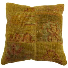 Yellow Antique Turkish Oushak Patchwork Rug Pillow