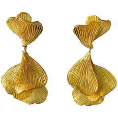 Yellow Architectural Wave Chandelier Statement Earrings