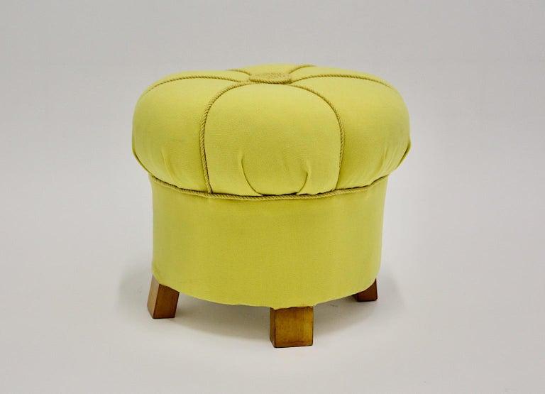 Austrian Yellow Art Deco Cherry Stool or Pouf, Austria, 1930s For Sale