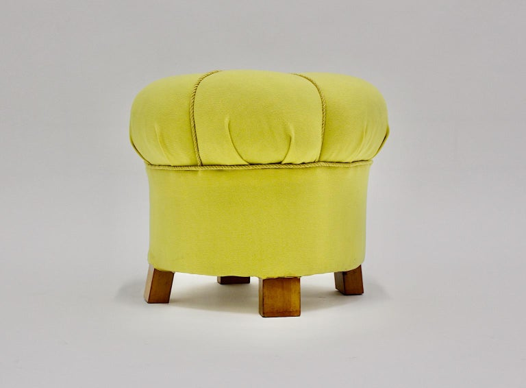 Yellow Art Deco Cherry Stool or Pouf, Austria, 1930s In Good Condition For Sale In Vienna, AT