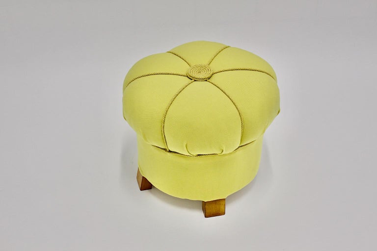 Mid-20th Century Yellow Art Deco Cherry Stool or Pouf, Austria, 1930s For Sale