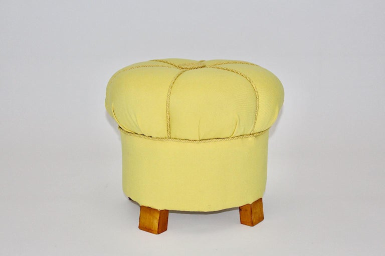 Fabric Yellow Art Deco Cherry Stool or Pouf, Austria, 1930s For Sale