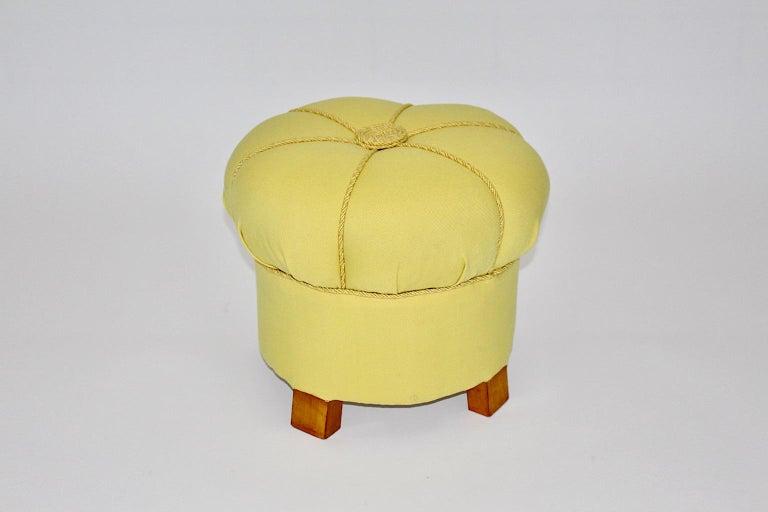 Yellow Art Deco Cherry Stool or Pouf, Austria, 1930s For Sale 1